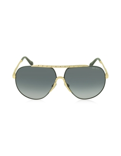 Benny/S Black Metal Aviator Sunglasses by Jimmy Choo in Southpaw