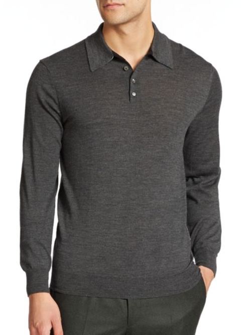Merino Wool Long-Sleeved Polo Shirt by Saks Fifth Avenue Collection in Sully