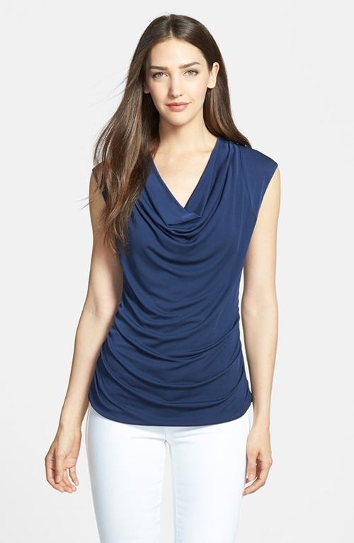 Cowl Neck Silk Blend Top by Classiques Entier in Elementary - Season 4 Episode 1