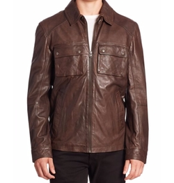Leather Zip-Up Jacket by Cole Haan in MacGyver