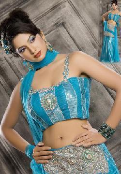 Dynamic Blue Faux Georgette Lehenga Choli with Dupatta by UTSAV fashion in Million Dollar Arm