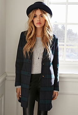 Wool-Blend Plaid Overcoat by Forever21 in The Boy Next Door