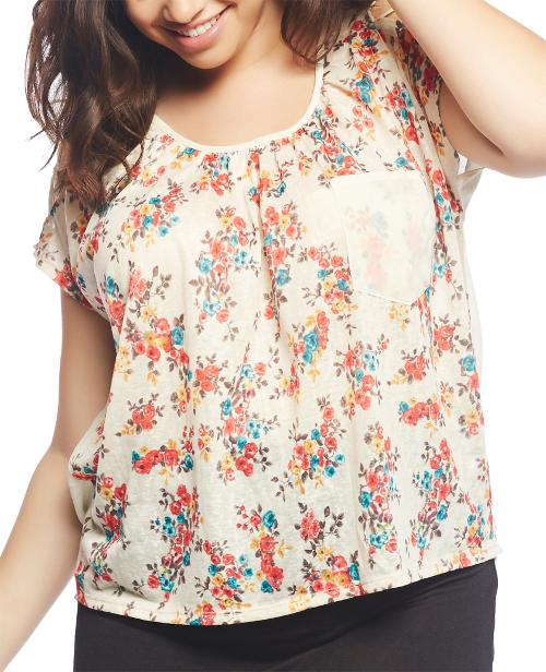 Lattice Strap Shoulder Floral Tee by Wet Seal in Dolphin Tale 2