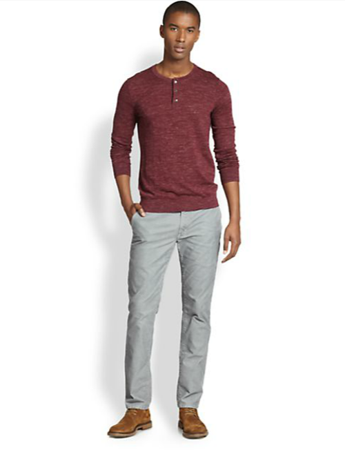 Wool/linen Slub Henley Shirt by Vince in Prisoners