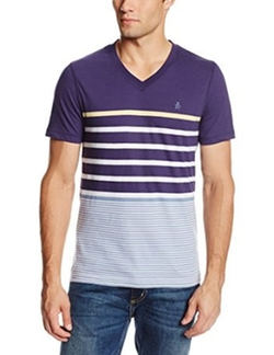 Men's Yacht Stripe V-Neck T-Shirt by Original Penguin in Ride Along 2