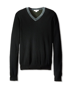 Colorblock V-Neck Cashmere Sweater by Christopher Fischer in Arrow