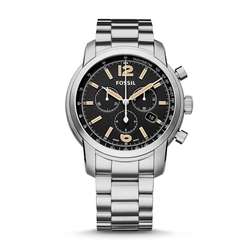 Swiss Quartz Chronograph Stainless Steel Watch by Fossil in Ballers