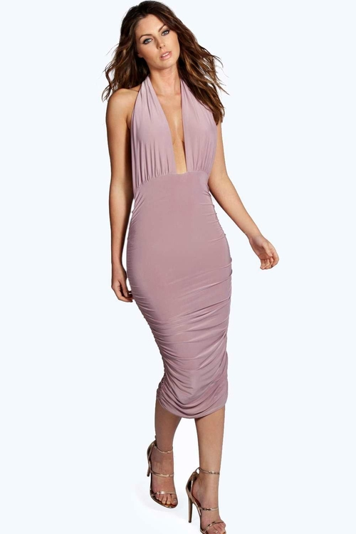 Flora Ruched Side Plunge Halter Slinky Dress by Boohoo Night in Wedding Crashers