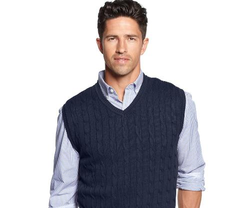 Solid Cable-Knit Sweater Vest by Club Room in X-Men: Days of Future Past