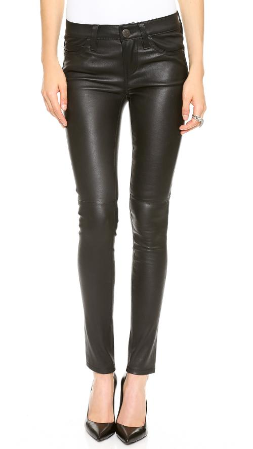 The Ankle Skinny Stretch Leather Pants by Current/Elliott in Beyond the Lights