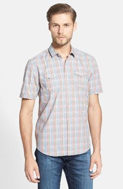 'Washington Square Plaid' Island Modern Fit Short Sleeve Plaid Sport Shirt by Tommy Bahama in Man of Steel