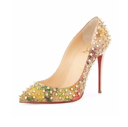 Follies Spiked Cork Red Sole Pumps by Christian Louboutin in Mistresses