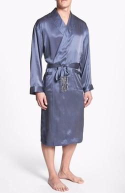 'Cypress' Silk Dot Robe by Majestic International in Empire