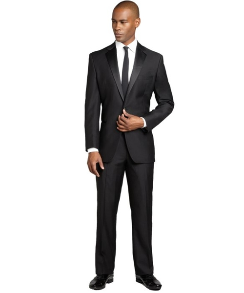 Black Super 120's Wool Single Button Tuxedo With Flat Front Pants by Yves Saint Laurent in Legend