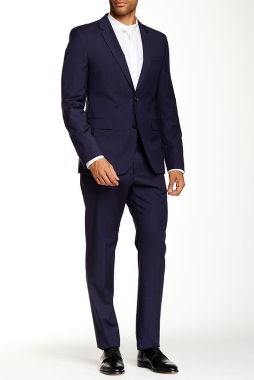 Aeron Hamen Sharkskin Notch Lapel Wool Suit by Hugo Boss in Suits