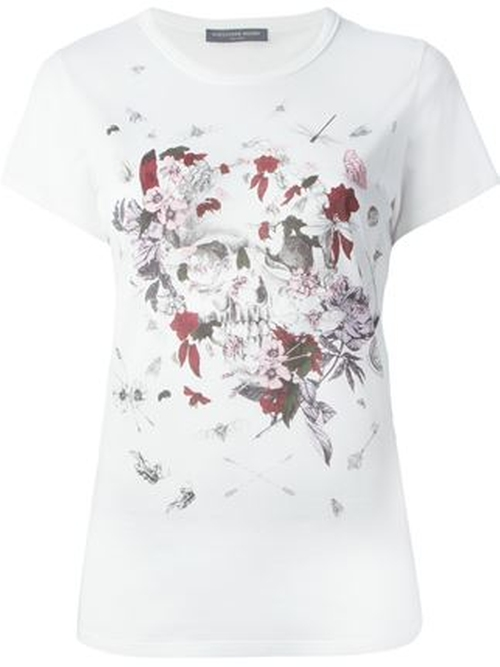 Floral Insect Skull Print T-Shirt by Alexander McQueen in Scream Queens - Season 1 Episode 3