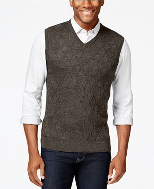 Merino Textured Argyle Vest by Club Room in The Big Bang Theory - Season 9 Episode 8