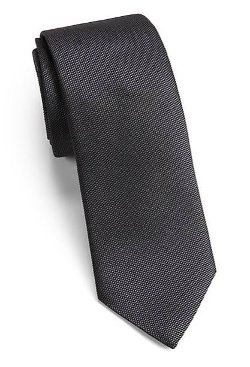 Modern-Fit Solid Silk Tie by Saks Fifth Avenue Collection in Crazy, Stupid, Love.