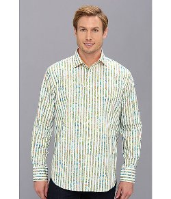 Green Engineered Print Tailored Fit L/S Sport Shirt by Thomas Dean & Co. in Savages