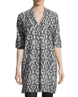Printed V-Neck Tunic Top by 10 Crosby Derek Lam in Quantico