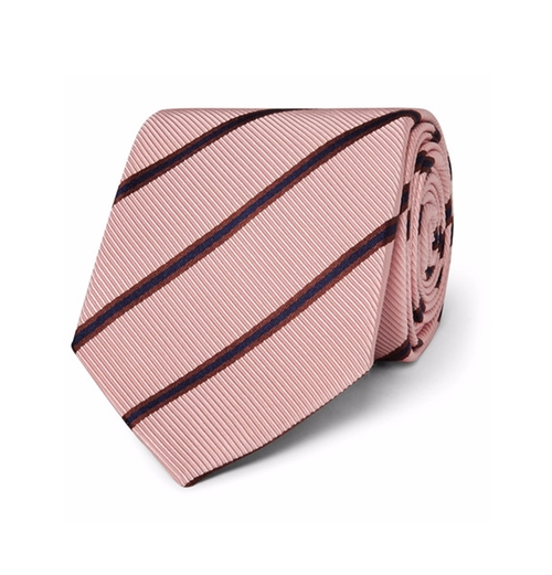 Striped Silk And Cotton-Blend Faille Tie by Kingsman + Drake's in Kingsman: The Secret Service
