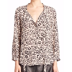 Purine B Leopard Printed Tie Blouse by Joie in Fuller House