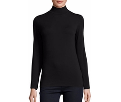 Soft Touch Mock Turtleneck Top by Majestic Paris in Power