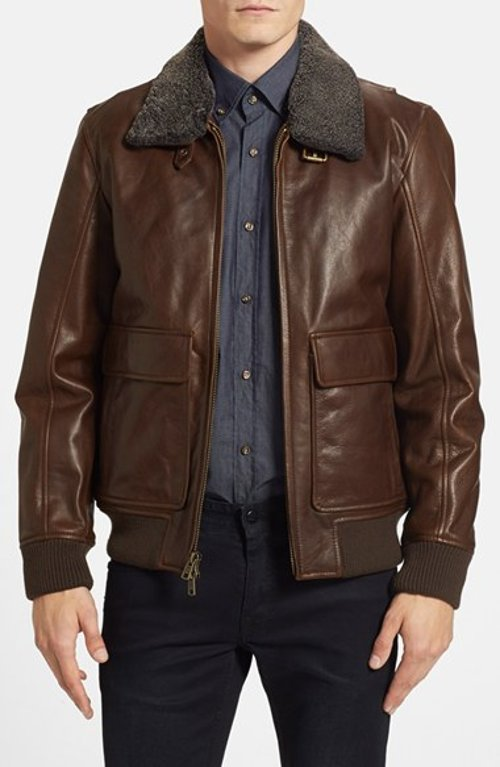 Shearling Collar Aviator Jacket by Vince Camuto in The Gambler