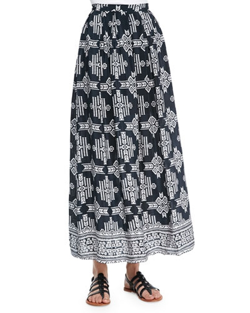 Margie Tribal-Print Maxi Skirt by Tolani in Rosewood