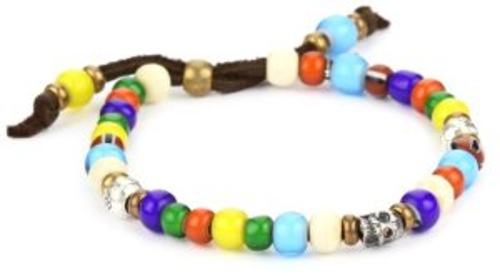 Handmade Designs Multi-Colored African Glass Trading Bead Bracelet by M.Cohen in No Escape