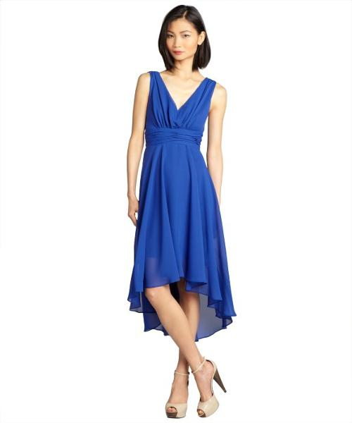 Cobalt Chiffon High Low V-neck Dress by Ivy & Blu in Couple's Retreat