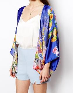 Petite Floral Satin Kimono by True Decadence in About Last Night