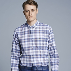 Long Sleeve Button Down Plaid Woven Shirt by Lacoste in Ballers