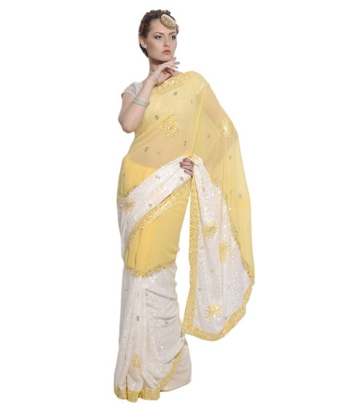 Yellow Brasso Saree by Nova Haat in The Second Best Exotic Marigold Hotel