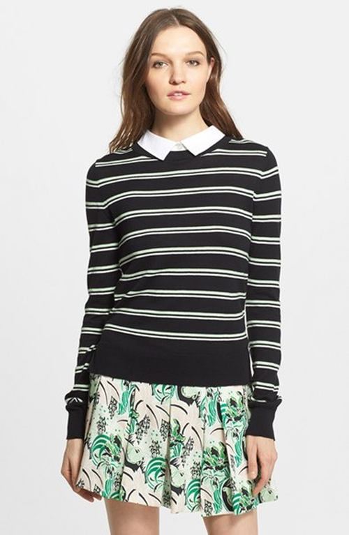 Collared Button Back Stripe Sweater by Veronica Beard in Pretty Little Liars