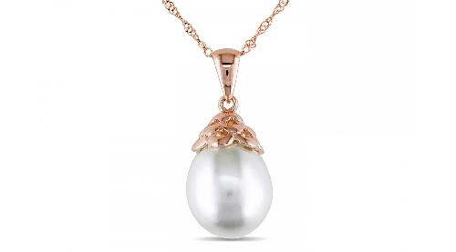 14K PINK GOLD 10-11MM DROP WHITE SOUTH SEA PEARL PENDANT W/ CHAIN by ICE in Oculus