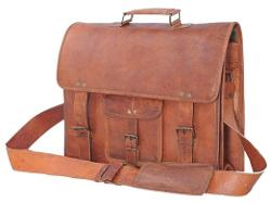 Vintage Look Leather Satchel Bag by Passion Leather in Mortdecai