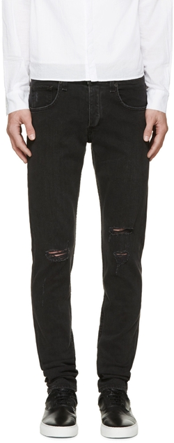 Black Destroyed Fit 1 Skinny Jeans by Rag & Bone in Empire