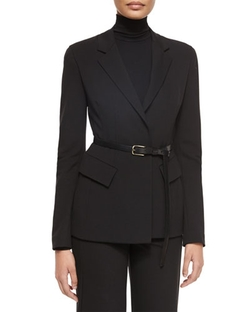 Belted Peplum Notched-Lapel Jacket by Donna Karan in Scandal