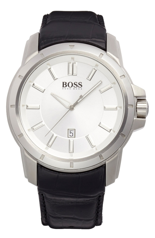 Round Leather Strap Watch by Boss Hugo Boss in Unfinished Business