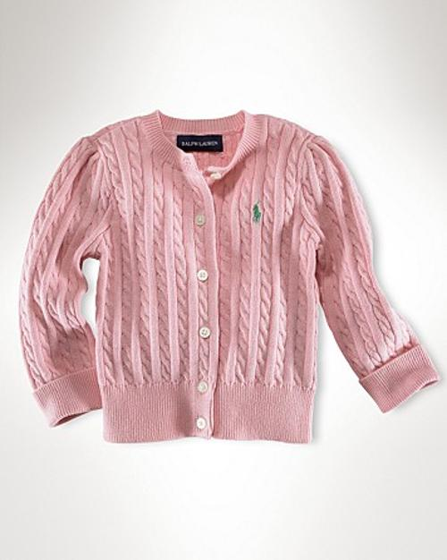 Big Girls' Cable Cardigan Sweater by Ralph Lauren Childrenswear in Man of Steel