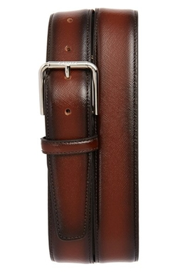 Saffiano Leather Belt by Canali in New Girl