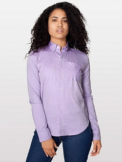 Pinpoint Oxford Long Sleeve Button-Down Shirt by American Apparel in Poltergeist