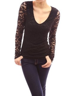 Neck Floral Lace Overlay Lined Long Sleeve Top by Patty Boutik in Couple's Retreat