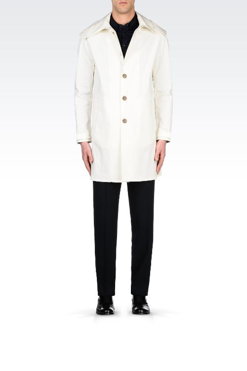 Single Breasted Trench Coat with Detachable Hood by Armani Collezioni in Yves Saint Laurent
