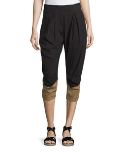 Pleated-Front Two-Tone Capri Pants by Donna Karan in Mistresses
