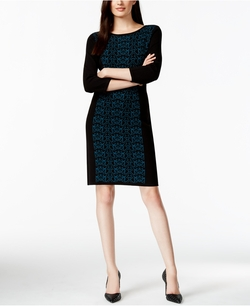 Printed Panel Sweater Dress by Nine West in The Flash