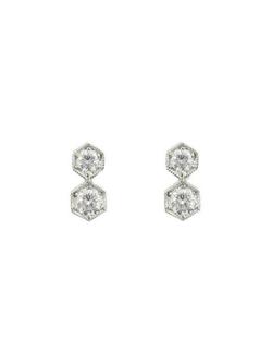Tiny Hexagonal Diamond Earrings by Cathy Waterman in Suits