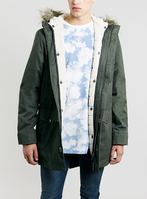 Khaki Heavyweight Parka by Topman in Man of Steel