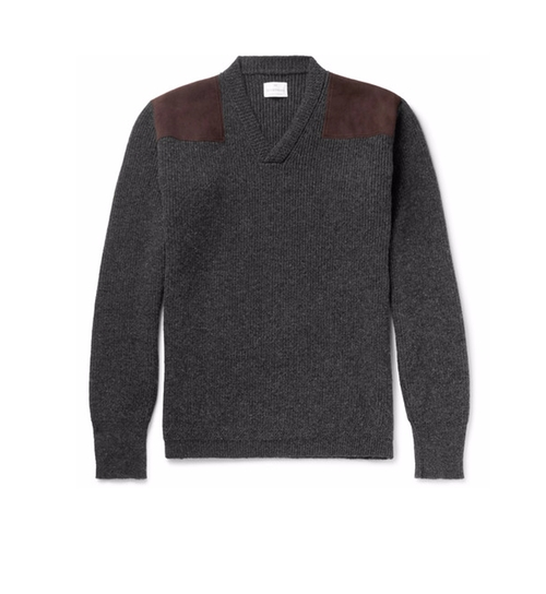 Suede-Panelled Ribbed Wool Sweater by Kingsman for Mr. Porter in Kingsman: The Secret Service